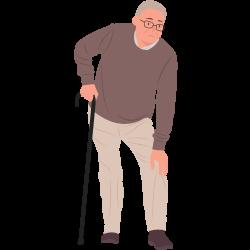 älterer Mann mit Gehstock fasst sich ans Knie