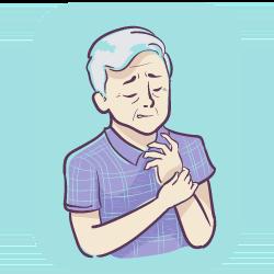 Mann mit Arthritis an den Fingern