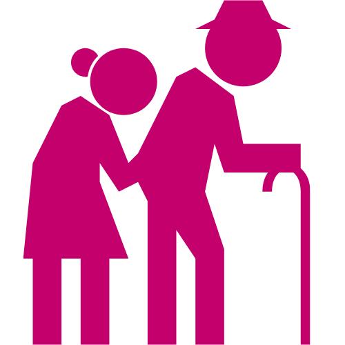 Zeichnung eines lilafarbenden Seniorenpaares