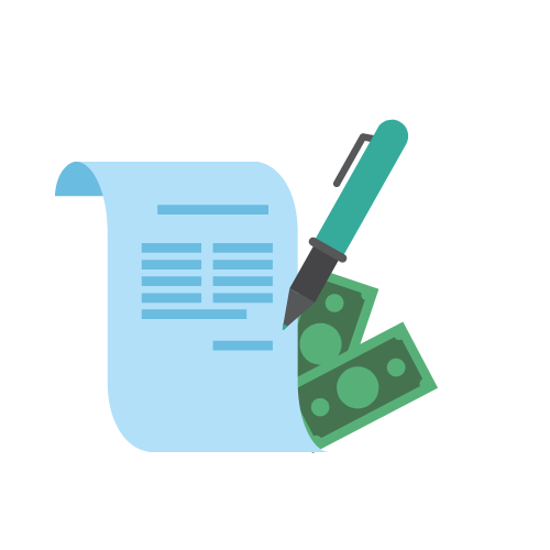 ein Antrag mit einem Füller und Geldscheinen
