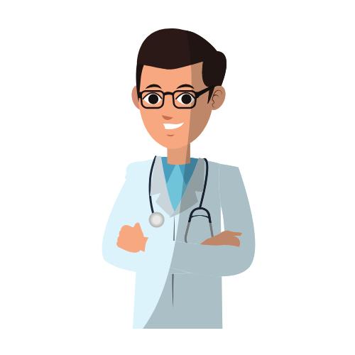 Ein Arzt mit Kittel
