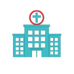türkises Krankehaus zur Behandlung einer Lungenembolie