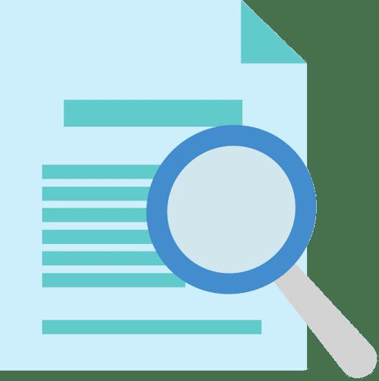 Blaues Dokument mit Lupe
