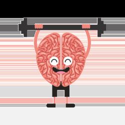 Gehirn-Männchen stemmt Hantel