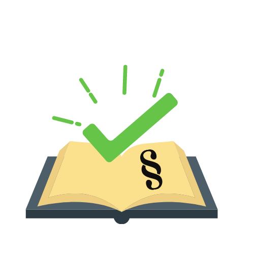 ein Buch mit einem grünen Haken und Paragrafenzeichen