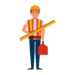 Arbeiter mit Gerät in der Hand