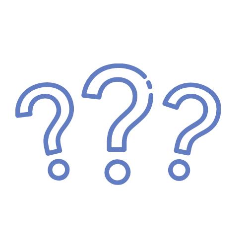 drei lila Fragezeichen