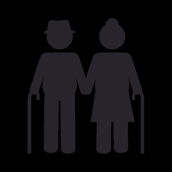 Frau und Mann mit Gehstöcken halten Händchen