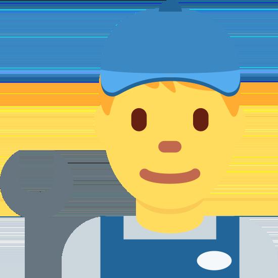 Männchen mit Kappe, Blaumann und Werkzeug