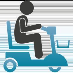 Mensch auf einem Elektro-Scooter mit Korb