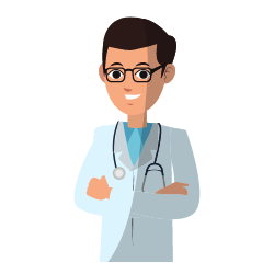 Mann mit Stethoskop um den Hals