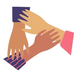 Vier Hände halten sich aneinander fest
