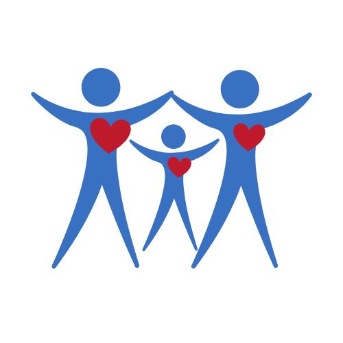 Eine blau gezeichnete Familie mit roten Herzen