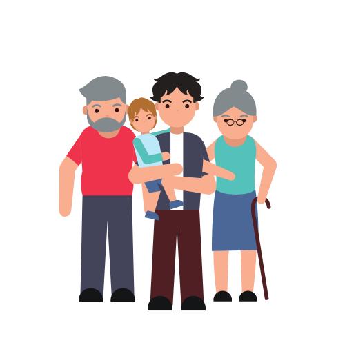 vier Personen, zwei davon sind Senioren, und ein Vater, der ein Kind trägt
