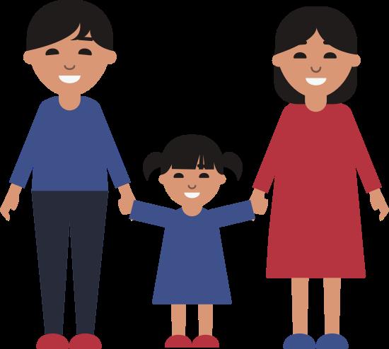 Mama, Papa und Tochter halten Hände