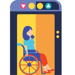 Frau mit Rollstuhl in einem Lift
