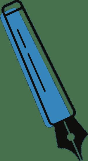 Blauer Füller mit schwarzer Spitze