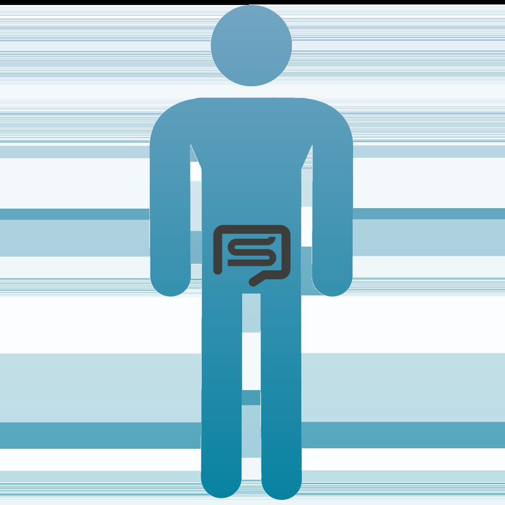ein Piktogram mit einer Stomahilfe