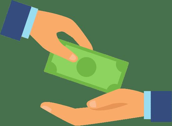 Eine Hand übergibt einer anderen Hand einen Geldschein