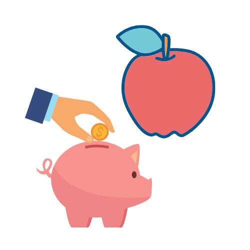Ein Geldschwein und ein Apfel