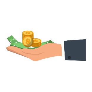 Hand reicht Geldhaufen