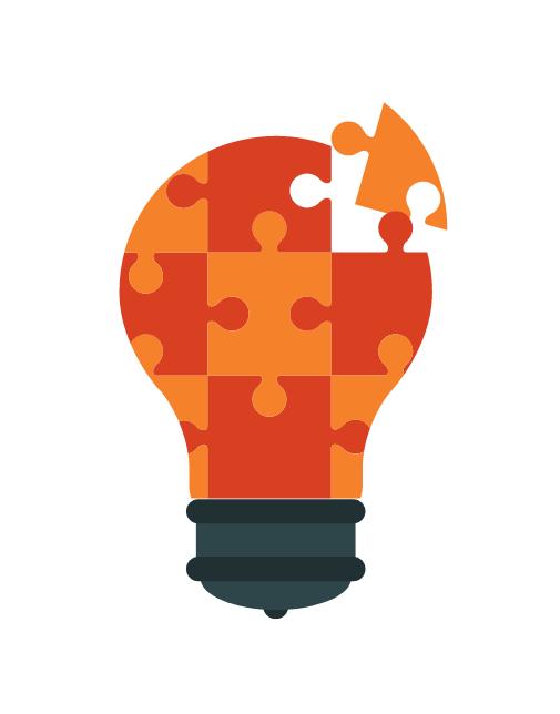 Glühbirne aus Puzzleteilen