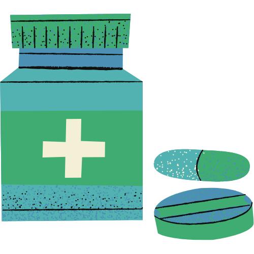 Eine grüne Tablettendose mit Tabletten daneben