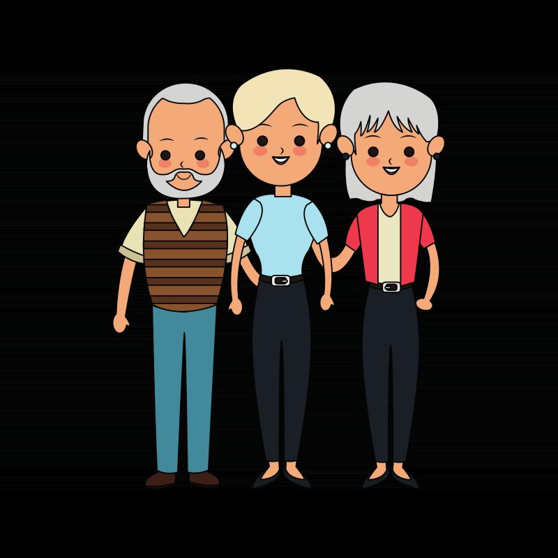 Ein Mann und zwei Frauen stehen nebeneinander