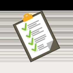 Wissen: Klemmbrett mit Zettel und Haken darauf
