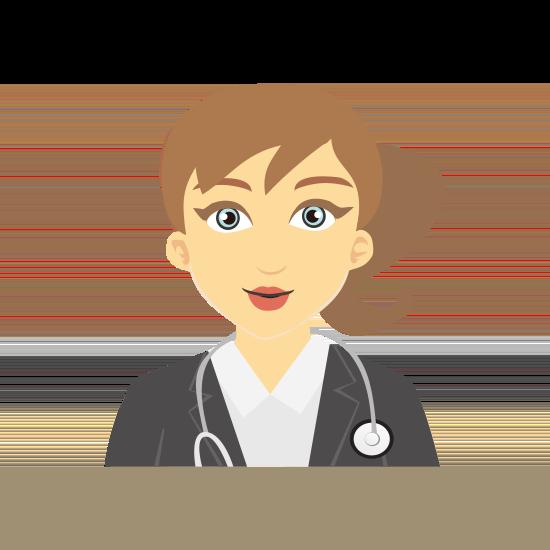 Frau mit Zopf und Stethoskop um den Hals