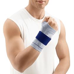 Mann trägt Handgelenksbandage