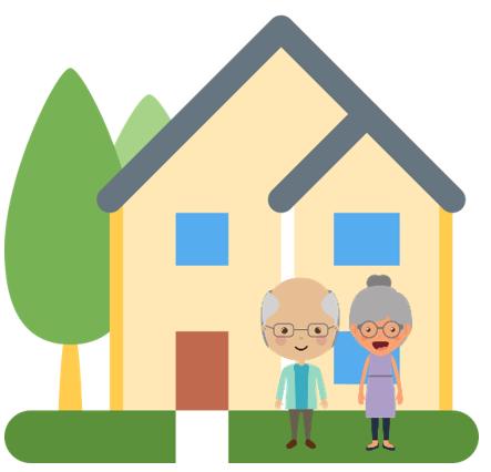 Haus mit einem älteren Paar davor