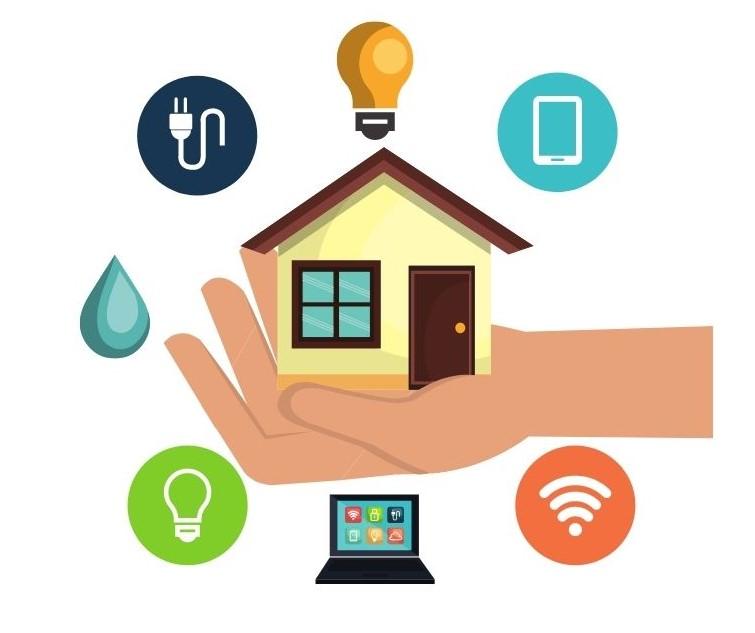 Haus mit Symbolen darum herum und Smart Home