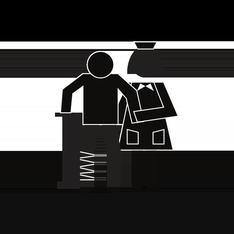 Frau stützt Mann mit Gehstock