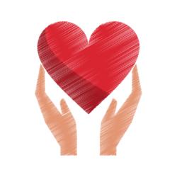Zwei Hände halten ein Herz