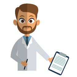 Mann mit Kittel und Stethoskop