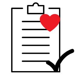 Dokumente auf Klemmbrett mir Herz und Haken