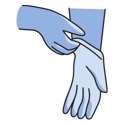Blau-türkise Handschuhe
