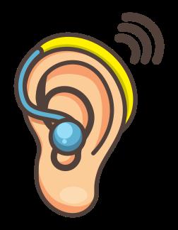 Ohr mit blau-gelbem Hörgerät