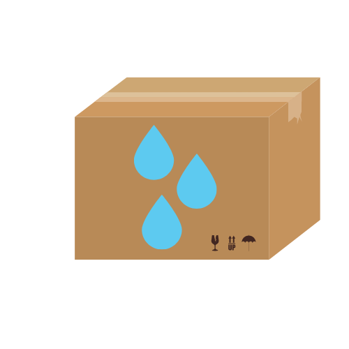 ein Karton mit drei blauen Tropfen