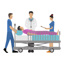 Patient in Krankenbett, von Pflegern umringt