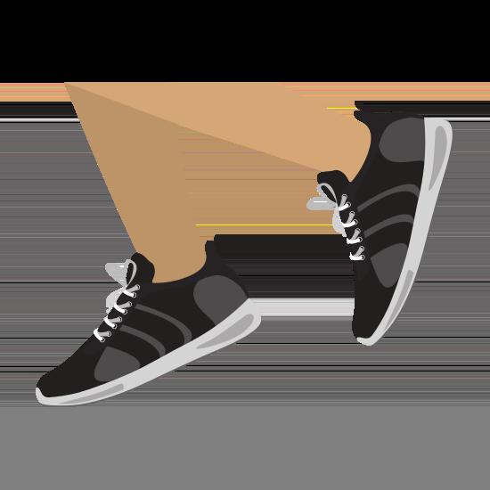 Ein Mensch läuft in schwarz-weißen Sneakern