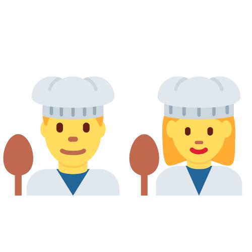 Ein Koch und eine Köchin mit Löffel und Kochhüten