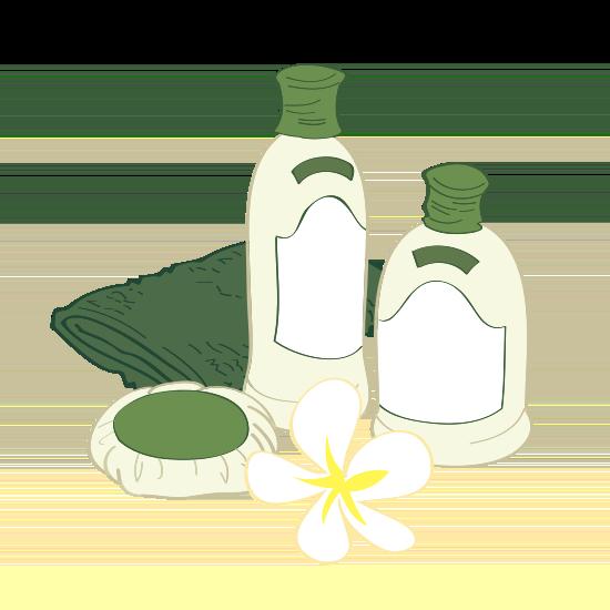 Körperpflege-Produkte und ein Handtuch