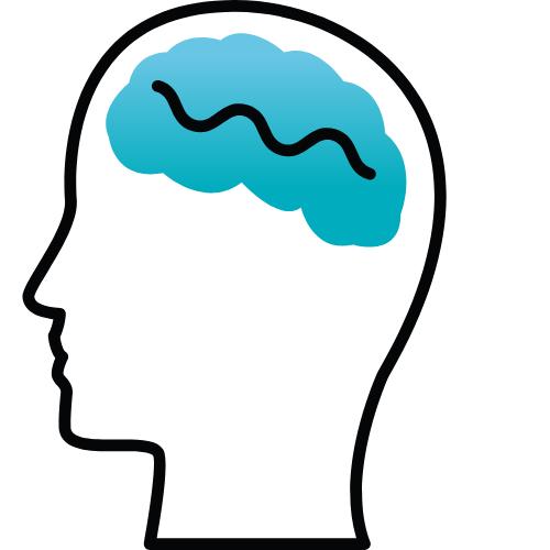 Kopf mit einem blauen Gehirn