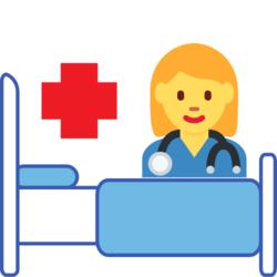 Wissen: Krankenschwester an einem bett mit einem Kreuz