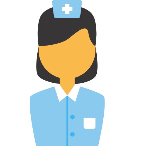 Krankenschwester mit blauer Kleidung
