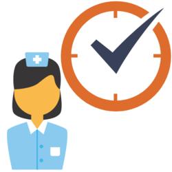 Wissen: krankenschwester und eine Uhr mit einem Haken
