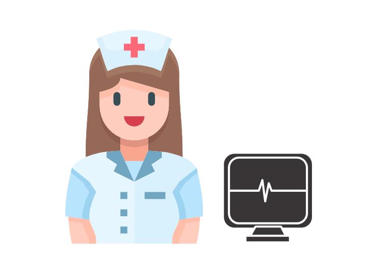 Krankenschwester und davor einen Computer