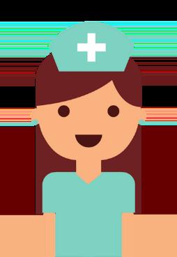 Krankenschwester mit blauer Haube
